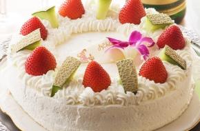お祝いケーキや乾杯用ドリンクの特典付き、食事は人気のブッフェ(バイキング)の特別プランです。
