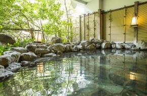 バスタオル2枚に、栃木の美味しい「尚仁沢湧水」の水をプレゼント。温泉を楽しむ旅行にぴったり。食事は人気のブッフェです。